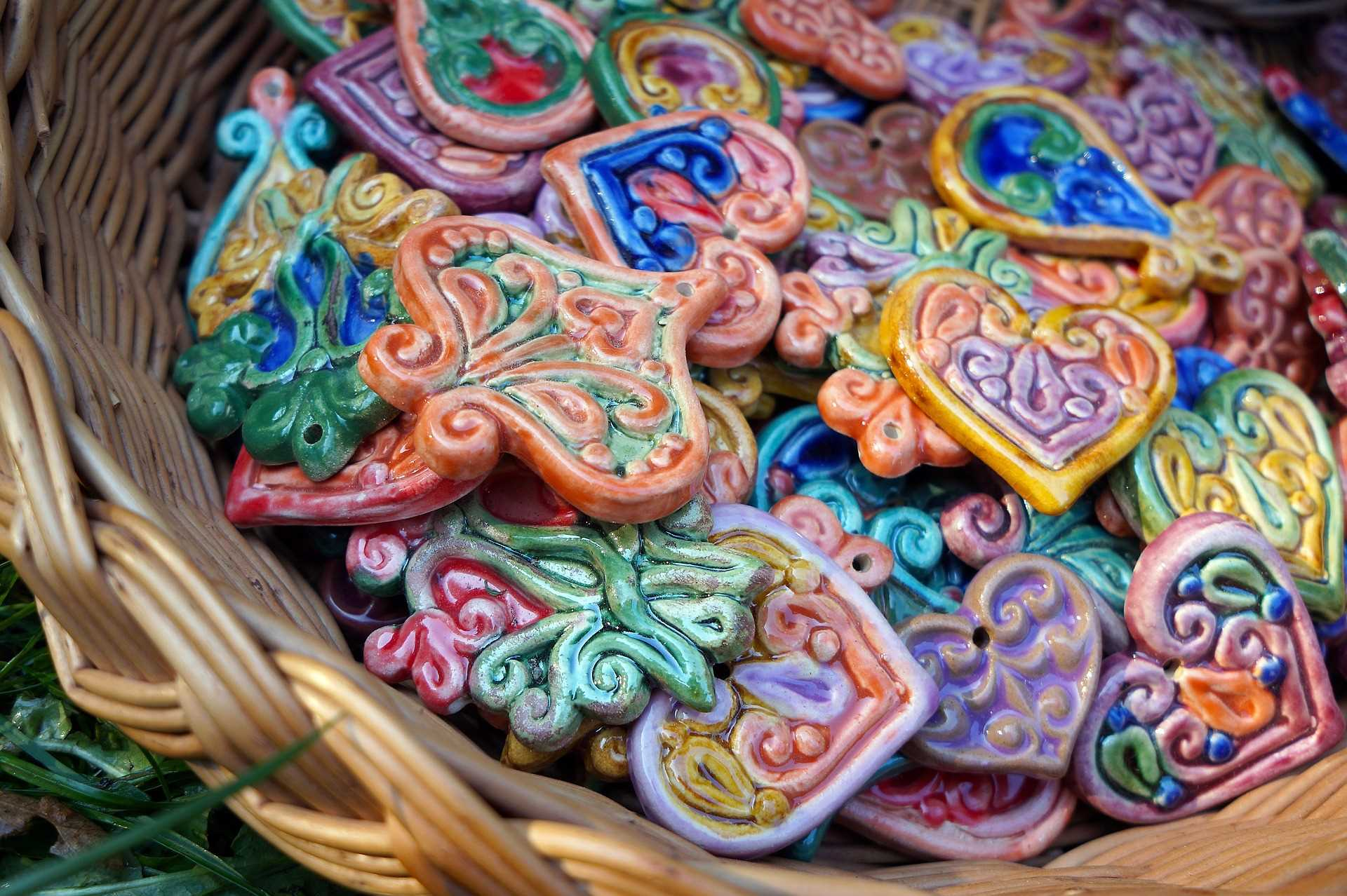 colorful ceramics and other items you can find at the Plattsburgh Craft Fairs